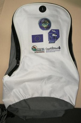 Personalized backpack with the CapRadNet and IPA logos and European flag