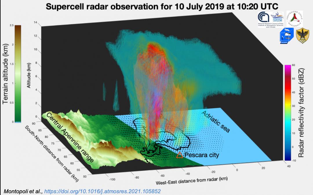 """Uno sguardo all'interno di una """"supercella"""" mediterranea per mezzo di radar meteorologici"""