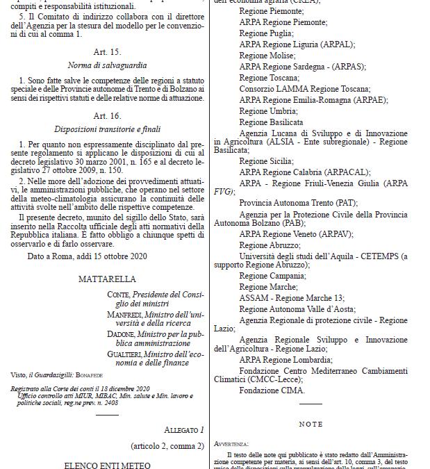 Nasce l'agenzia nazionale ItaliaMeteo: CETEMPS nell'elenco ufficiale degli Enti Meteo