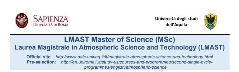 Aperte le iscrizioni a LMAST, la prima laurea magistrale interateneo e internazionale dedicata in Italia esclusivamente alla Scienza e tecnologia dell'atmosfera