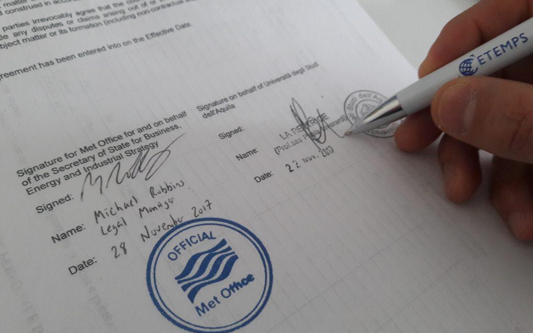 Il CETEMPS firma un accordo con il servizio meteorologico inglese Met Office